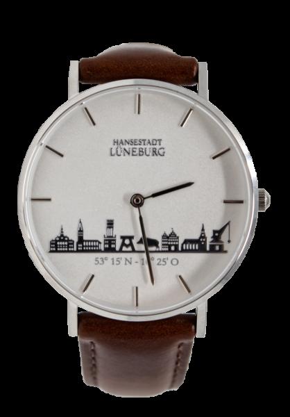 Uhr mit Lüneburg-Skyline - braunes Lederband