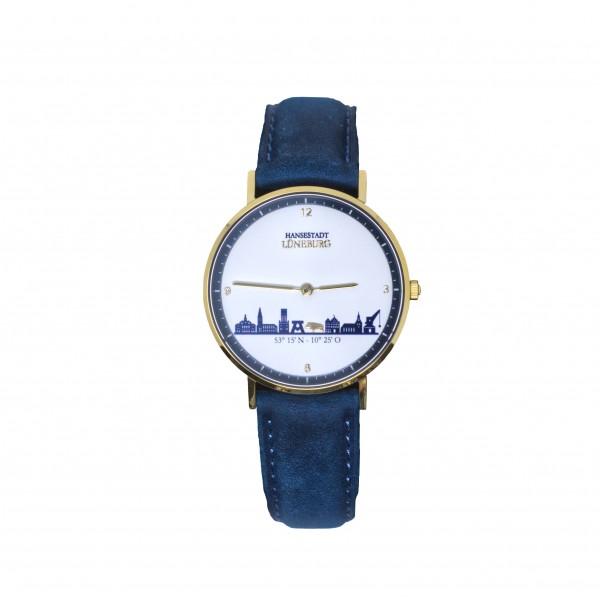 Goldene Uhr mit Lüneburg-Skyline - blaues Lederband