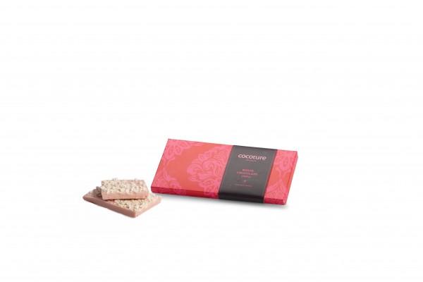 Weiße Schokolade mit Mandelnougat und Himbeere