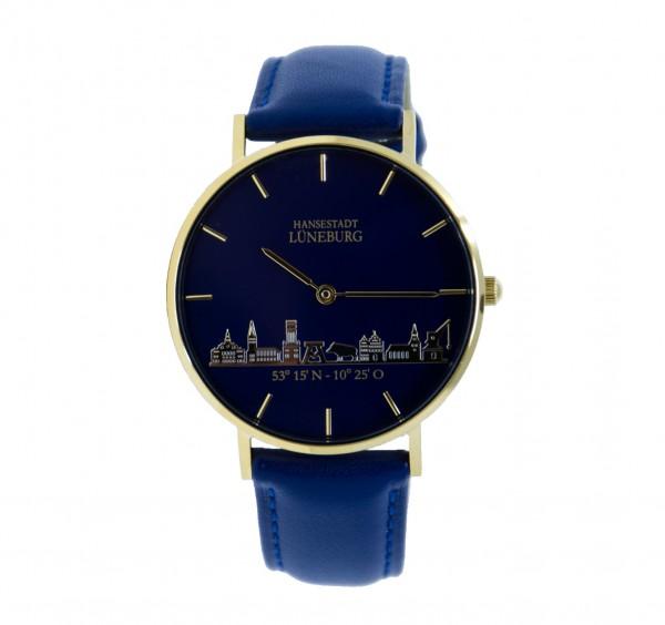 Uhr (36 mm) mit Lüneburg-Skyline - vergoldet mit Lederband