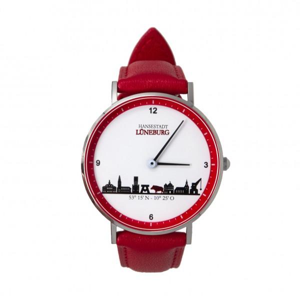 Uhr (36 mm) mit Lüneburg-Skyline - rotes Lederband