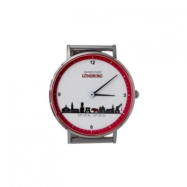 Uhr (36 mm) mit Lüneburg-Skyline - Milanaiseband Metallband