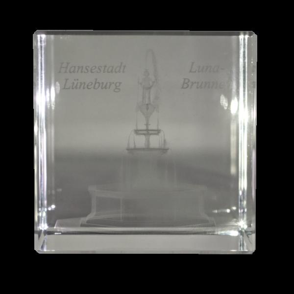 Kristallglasquader 3D Lasergravur Luna-Brunnen