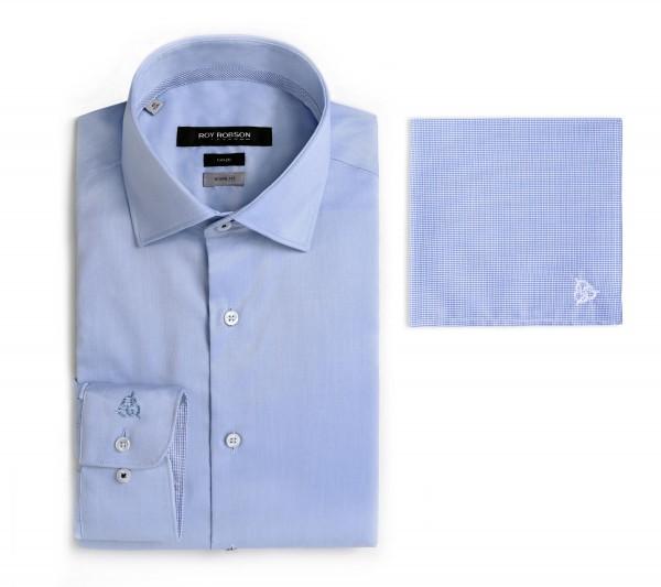 ROY ROBSON Hemd Shape fit mit Einstecktuch - blue (5065-A470)