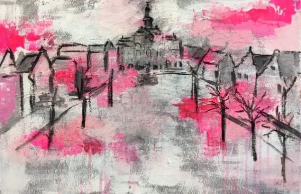 Lüneburg rosarot by Maike Bollow (2019) 60 x 40 cm