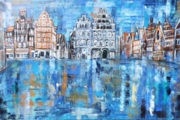 Lüneburg Am Sande mit IHK nach dem Regen (2018) 150 x 100 cm