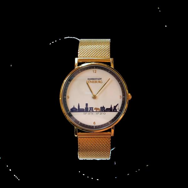 Goldene Uhr mit Lüneburg-Skyline - goldenes Milanaiseband