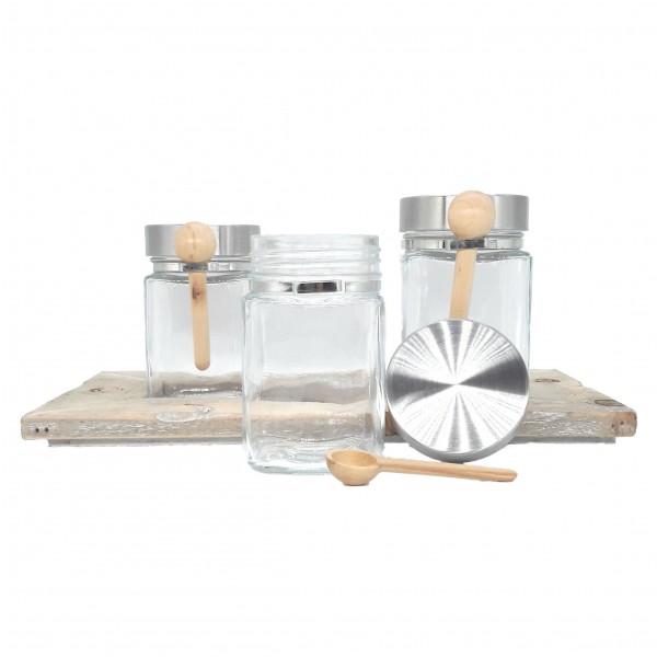 Holz – Tablett mit drei Vorratsgläsern und Holzlöffeln