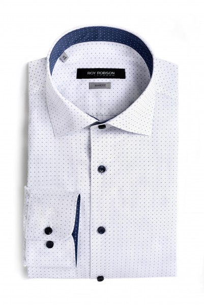 ROY ROBSON Hemd Shape fit 100% Cotton - white/blue (5028-Z100)