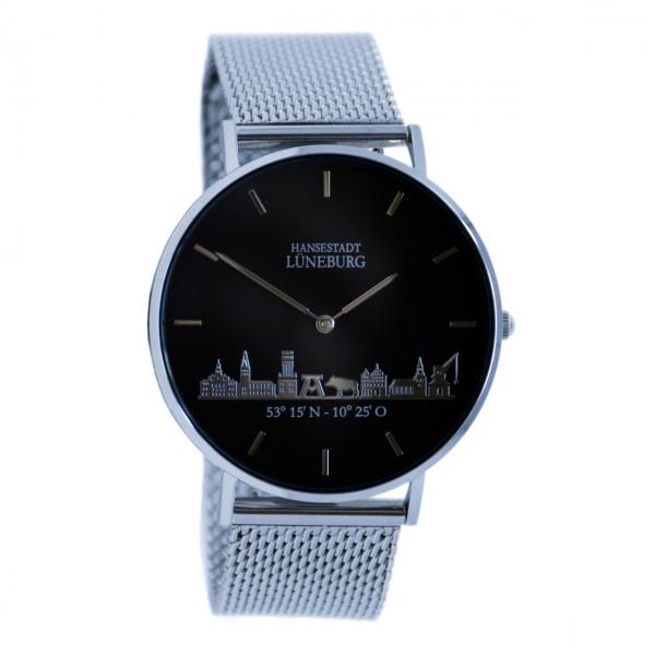 Uhr (40 mm) mit Lüneburg-Skyline - Metallband