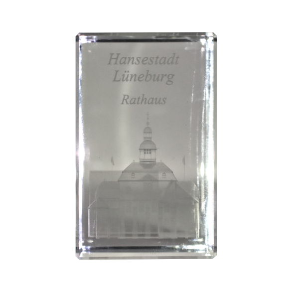 Kristallglasquader 3D Lasergravur Lüneburger Rathaus
