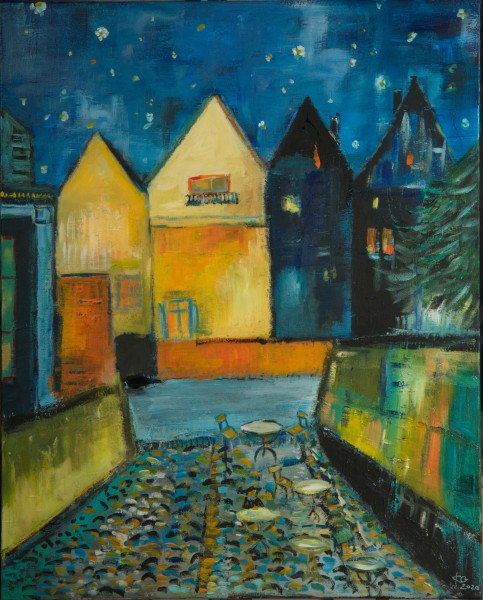 Karin Greife Kunstdruck Motiv -Nachtstint Lüneburg (2020)